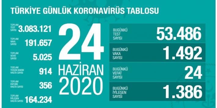 Türkiye'de coronavirüs: Bugün 24 kişi Coronadan Hayatını Kaybetti