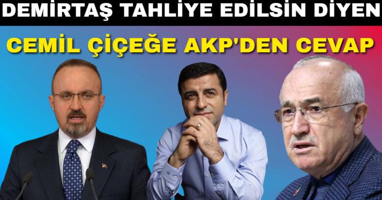 Demirtaş Tahliye Edilsin Diyen Cemil Çiçeğe AKP den Cevap