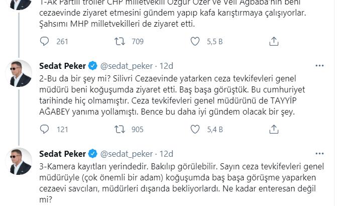 Sedat Peker: Silivri Cezaevi'nde yatarken, Tayyip Ağabey, Ceza Tevkifevleri Genel Müdürü'nü yanıma yollamıştı