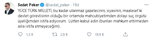 Sedat Peker istifa etti