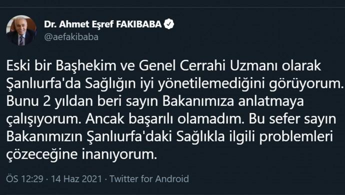 AKP'li Fakıbaba: Urfa'da sağlığın iyi yönetilemediğini görüyorum