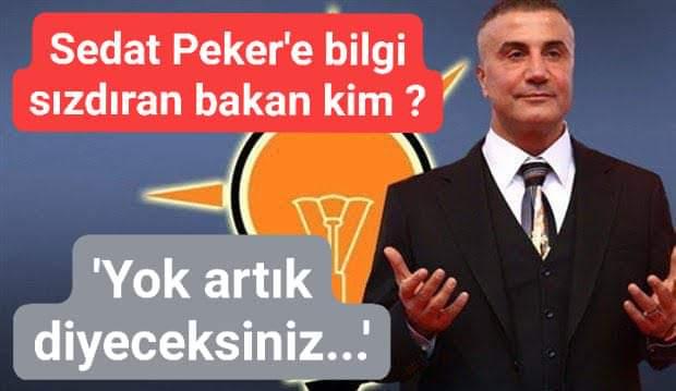 Sedat Peker'e bilgi sızdıran bakan kim? 'Yok artık diyeceksiniz…'